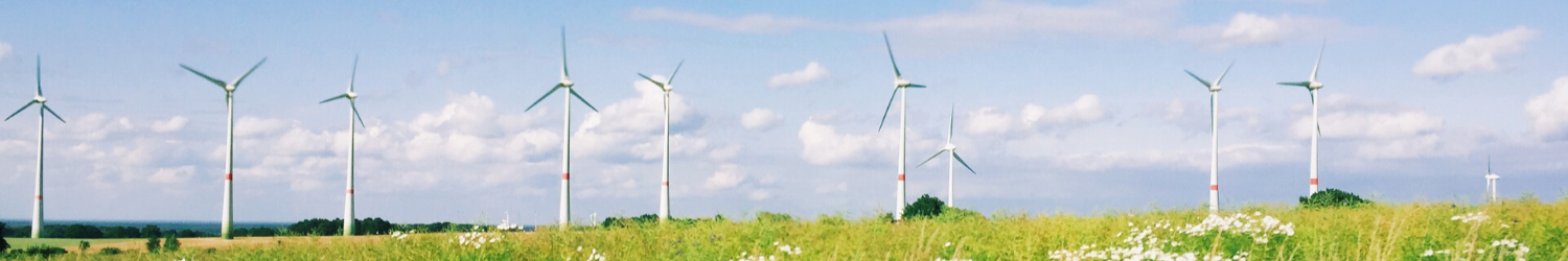 wind turbines on grassy field against sky