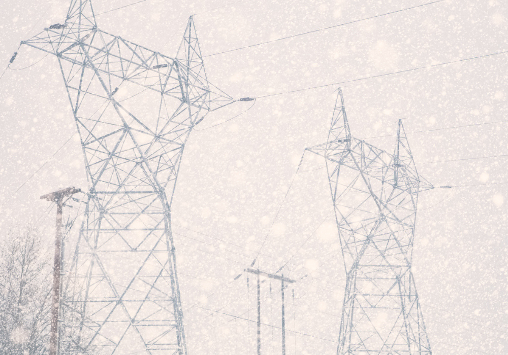 snowstorm and power lines