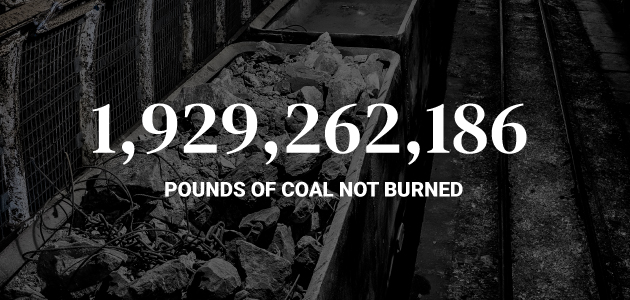 1,929,262,186 pounds of coal not burned
